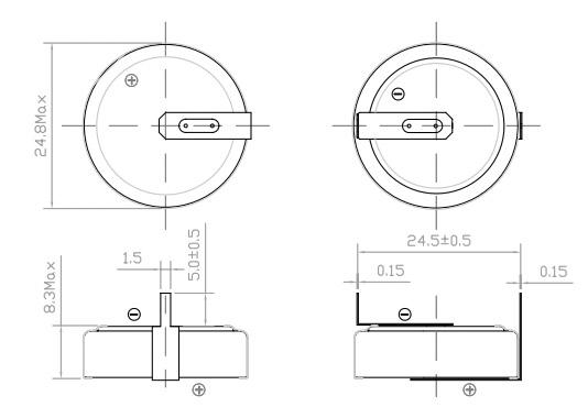 Размеры батарейки EEMB CR2477T-VFY2