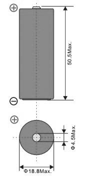 Размеры батарейки EEMB ER18505M-FT