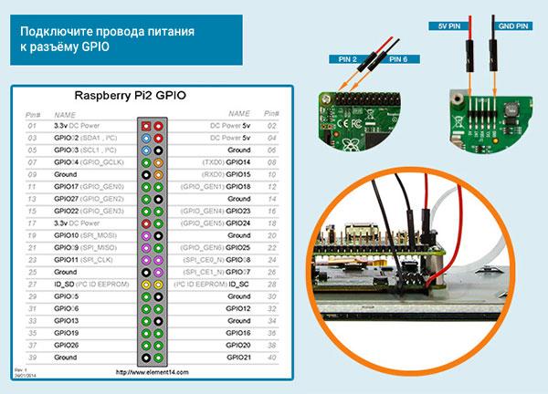 Подключите провода питания к разъёму GPIO