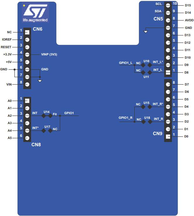 STM P-NUCLEO-53L0A1 pinout