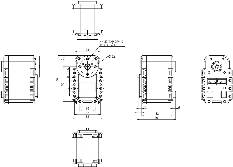 Размеры Dynamixel AX-12A