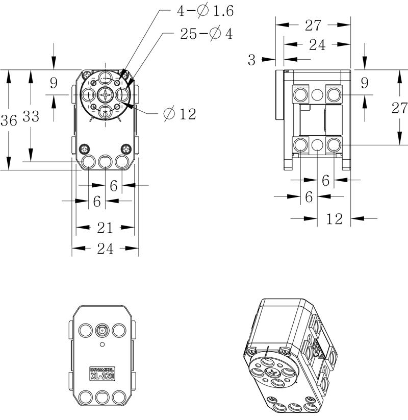 Размеры DYNAMIXEL XL-320