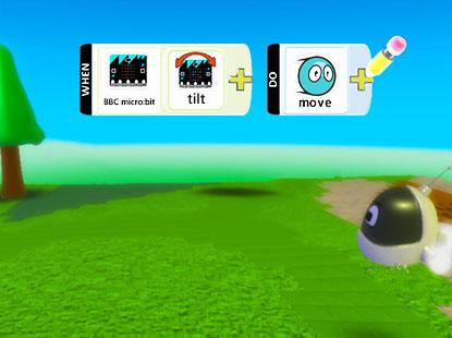Microbit + kodu - Керуйте рухами персонажу