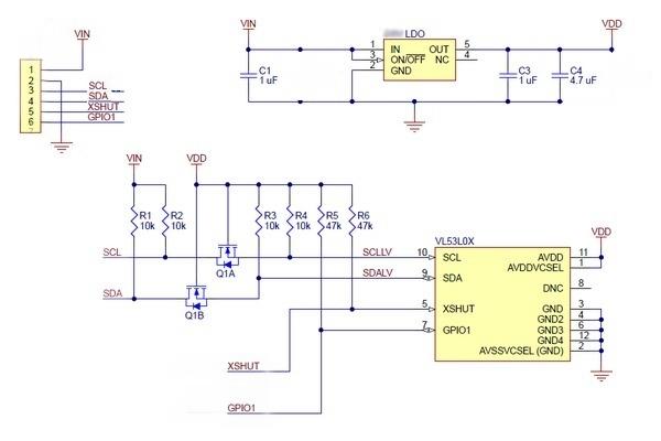 Модуль GY-530 лазерного дальномера VL53L0X (лидар)