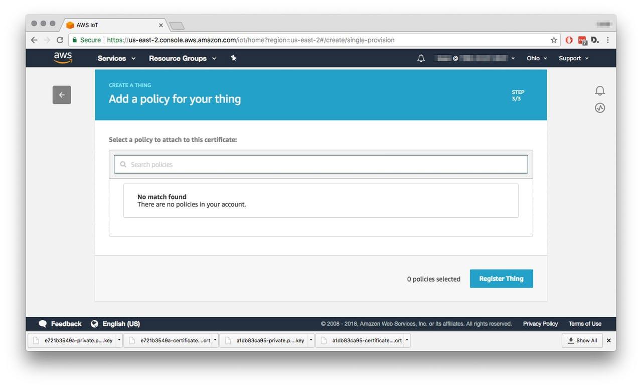 НалаштуванняAWS IoT - Натисніть Attach a policy (додати правила), після чого ви потрапите на відповідну сторінку. Тепер потрібно створити правила, для чого натисніть знову Register Thing.