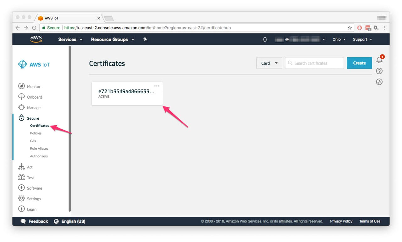 НалаштуванняAWS IoT - Certificates