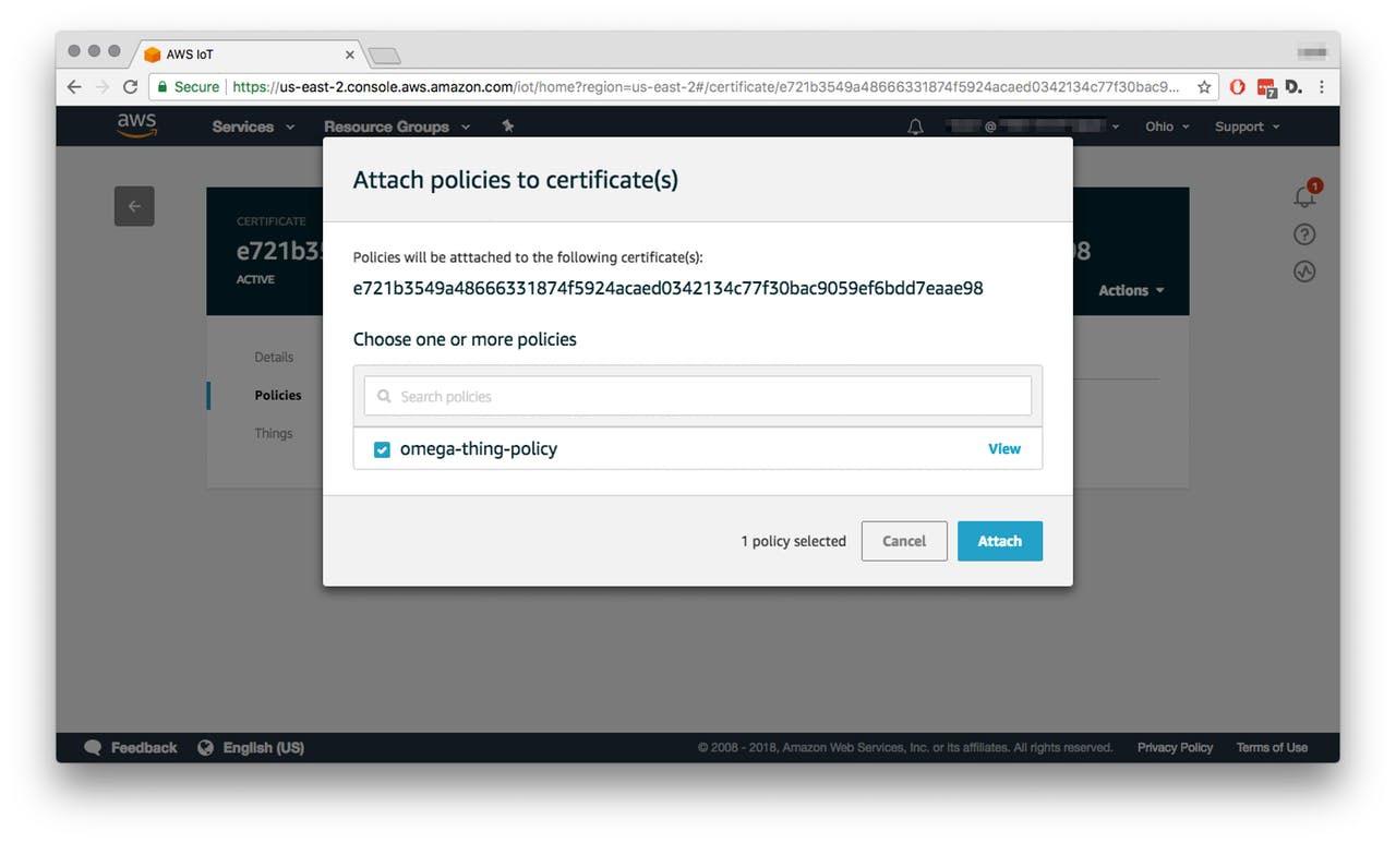 НалаштуванняAWS IoT - Attach