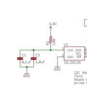 Схема модуля датчика RGB SEN-12829 (ISL29125)